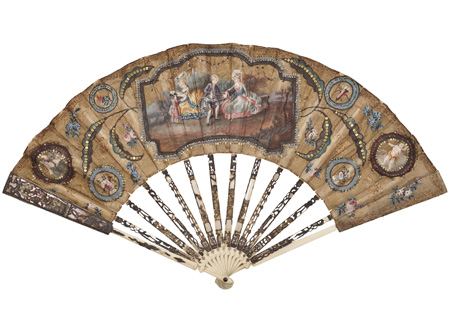 Folding fan, ivory sticks with gold, silk leaf with gouache painting, 1750-1760, Den Gamle By, Denmark (Photo: Den Gamle By and Frank Petersen)