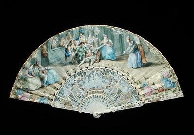 Fan depicting a scene from the Commedia dell'Arte, English School, (18th century), watercolour on paper, Ickworth, Suffolk, UK