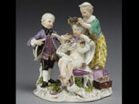 Meissen porcelain figure group of children imitating adults, Germany, 1760-1765.